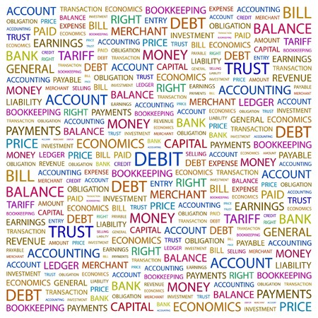 bookkeeping: D�BITO. Palabra collage sobre fondo blanco. ilustraci�n.