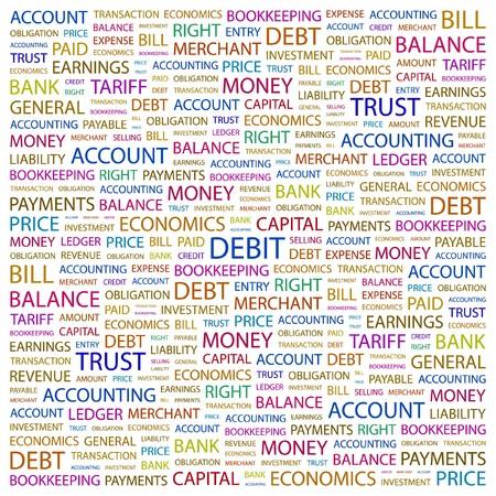 payable: DEBIT. Word collage on white background.  illustration.