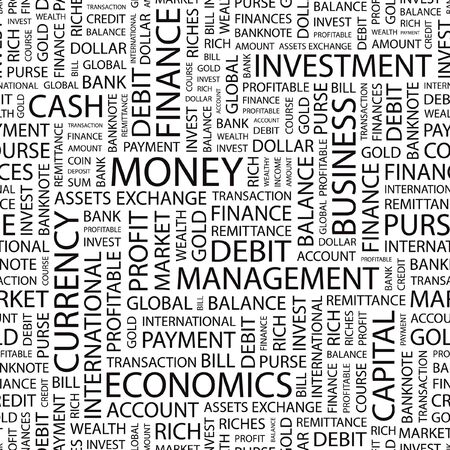 MONEY. Seamless  pattern with word cloud.   Vector