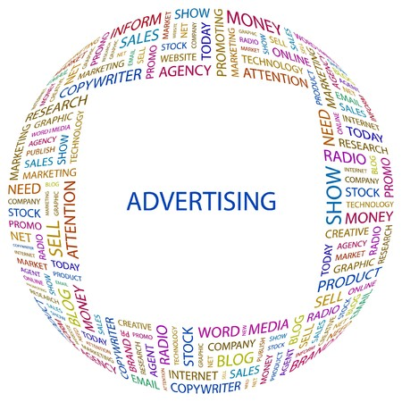 ADVERTISING. Word collage on white background.  illustration.
