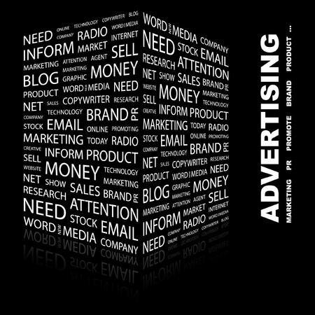 ADVERTISING. Word collage on black background.  illustration.