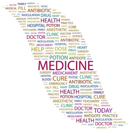 MEDICINE. Word collage on white background.  illustration.
