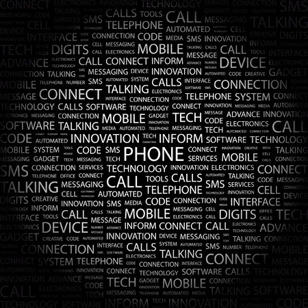 PHONE. Word collage on black background.   illustration.    Vector