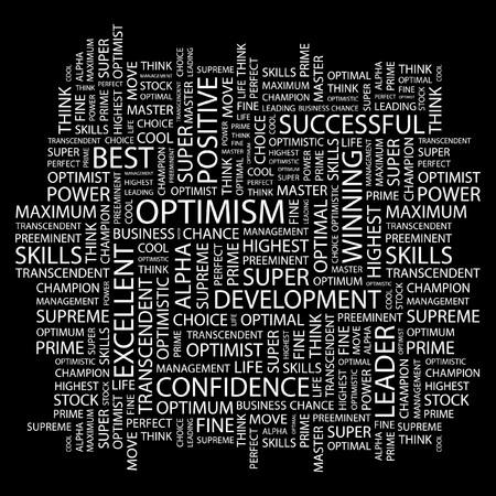 OPTIMISM. Word collage on black background illustration.    Stock Vector - 7339745