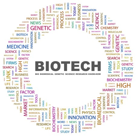 BIOTECH. Word collage on white background. illustration.    Vector
