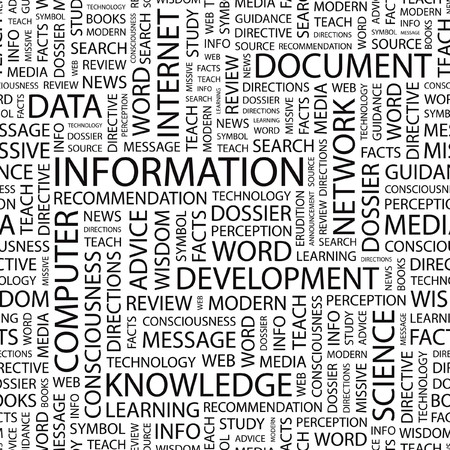 forewarning: INFORMATION. Seamless  pattern with word cloud.   Illustration