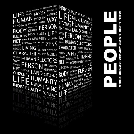 populace: PEOPLE. Word collage on black background.  illustration.