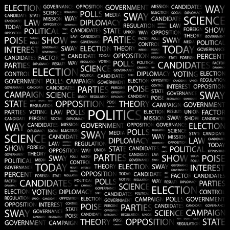 presidency: POLITICS. Word collage on black background.  illustration.
