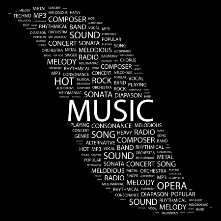 duet: MUSIC. Word collage on black background.  illustration.