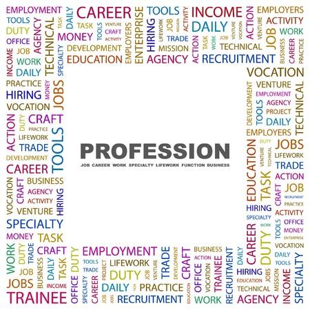 lifework: PROFESSION. Word collage on white background. illustration.