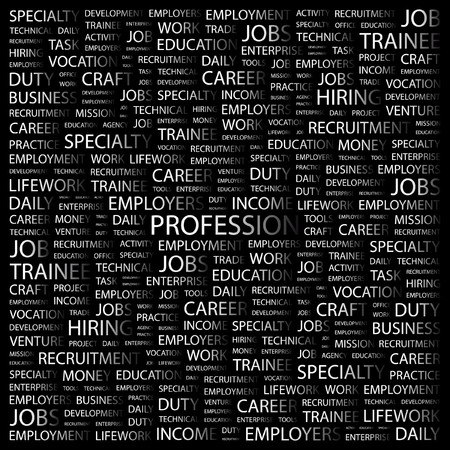 lifework: PROFESSION. Word collage on black background illustration.