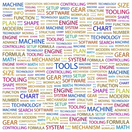 TOOLS. Word collage on white background. illustration. Stock Vector - 7341057