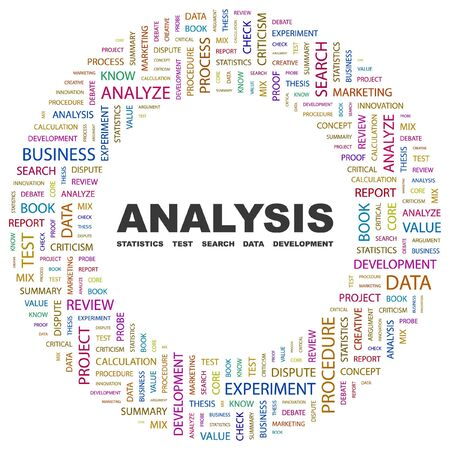 ANALYSIS. Word collage on white background. illustration. Stock Vector - 7340139