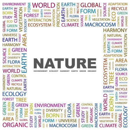 NATURE. Word collage on white background.  illustration.    Vector