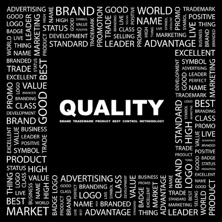 product mix: QUALITY. Word collage on black background.   illustration.