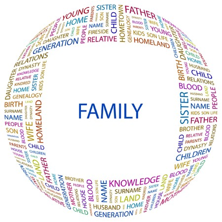 FAMILY. Word collage on white background. illustration.