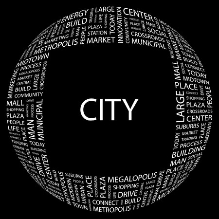 CITY. Word collage on black background.  illustration. Stock Vector - 7339938