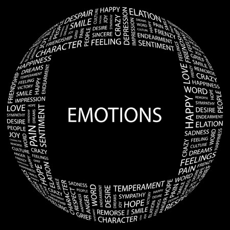 EMOTIONS. Word collage on black background. illustration.    Stock Vector - 7340200