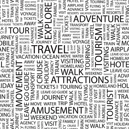 TRAVEL. Seamless   pattern with word cloud.   Vector