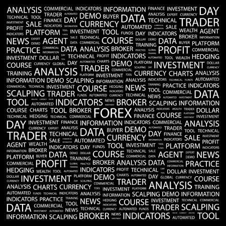 hedging: FOREX. Word collage on black background.  illustration.    Illustration