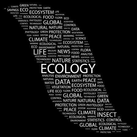 phytology: ECOLOGY. Word collage on black background. illustration.