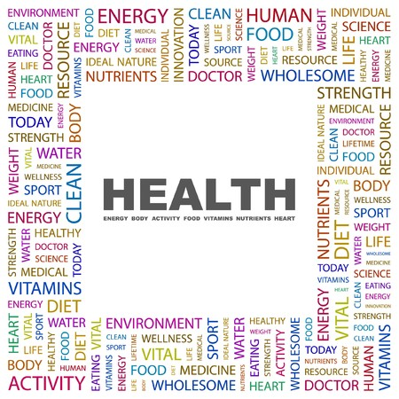 HEALTH. Word collage on white background.  illustration.    Vector