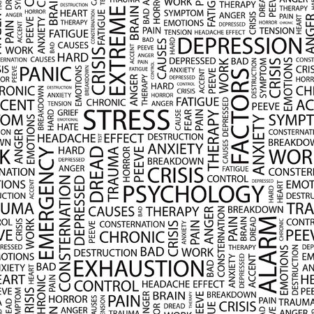 sintoma: STRESS. Seamless   pattern with word cloud.