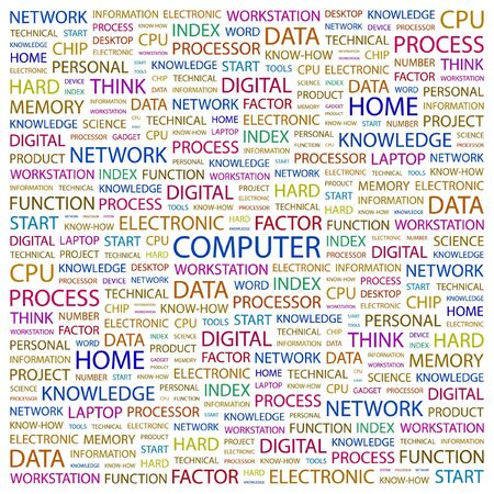 office automation: COMPUTER. Word collage on white background illustration.    Illustration