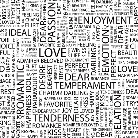 dearest: LOVE. Seamless  pattern with word cloud.
