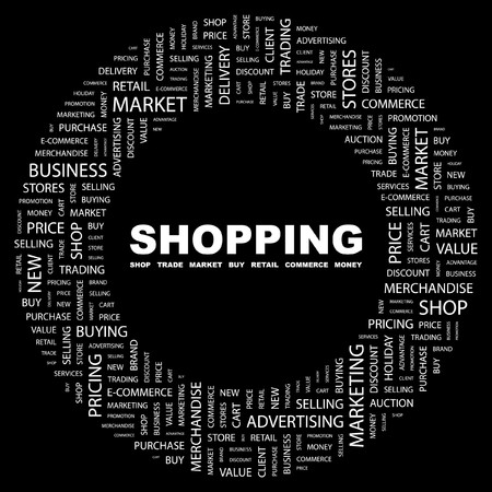 SHOPPING. Word collage on black background. illustration. Stock Vector - 7340044