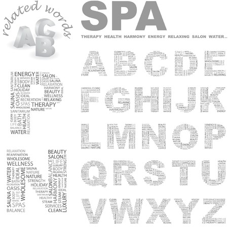 SPA. letter collection. Word cloud illustration.   Vector