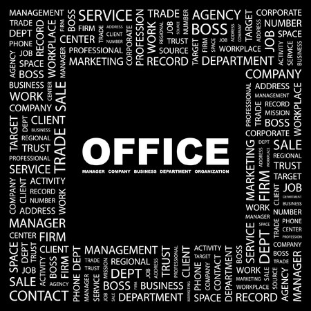 OFFICE. Word collage on black background.  illustration. Stock Vector - 7339570