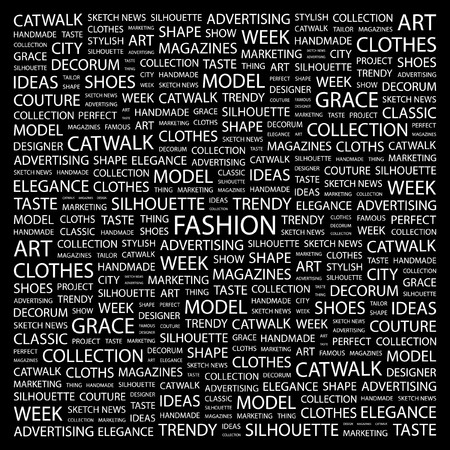 winter fashion: FASHION. Word collage on black background illustration.
