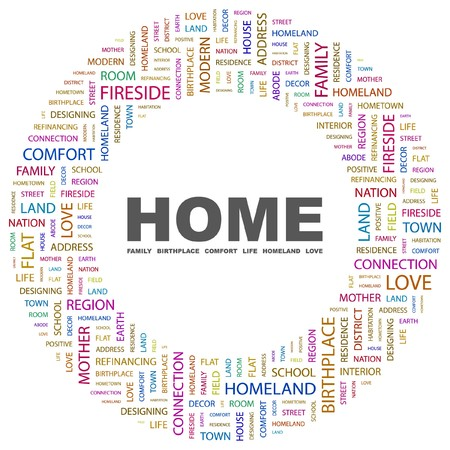 HOME. Word collage on white background.  illustration.    Vector