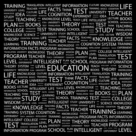 EDUCATION. Word collage on black background. illustration.    Stock Vector - 7340717