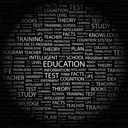 EDUCATION. Word collage on black background. illustration. Stock Vector - 7341049