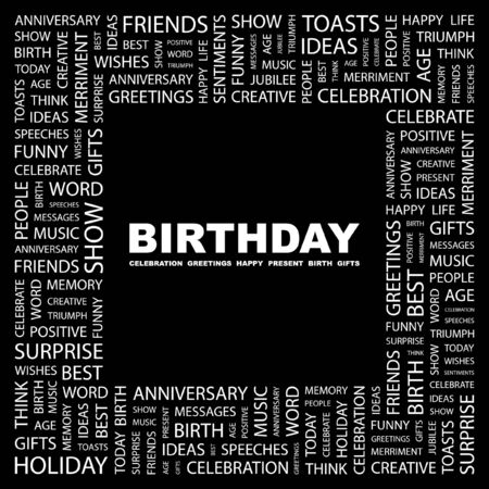 wingding: BIRTHDAY. Word collage on black background. illustration.    Illustration