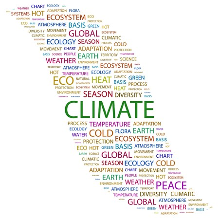 CLIMATE. Word collage on white background. illustration.