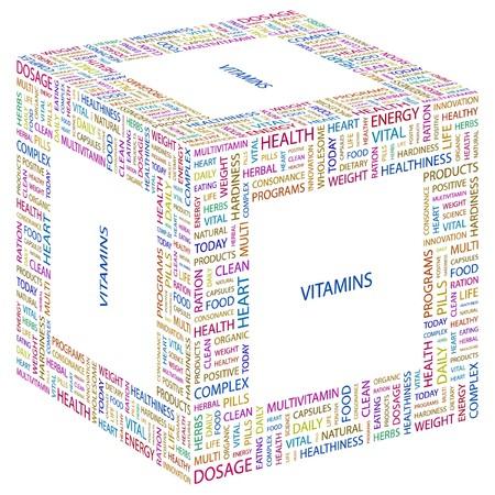 hardiness: VITAMINS. Word collage on white background.  illustration.