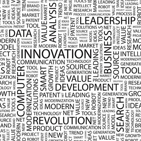 textile industry: INNOVATION. Seamless background. Word cloud illustration.