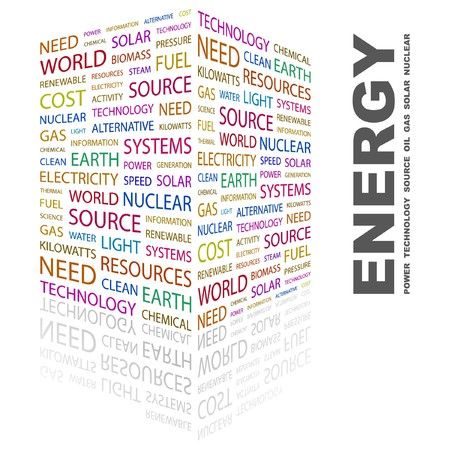 renewables: ENERGY. Word collage on white background.  illustration.