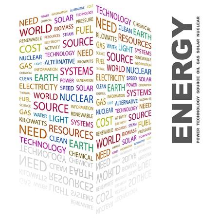 steam turbine: ENERGY. Word collage on white background.  illustration.