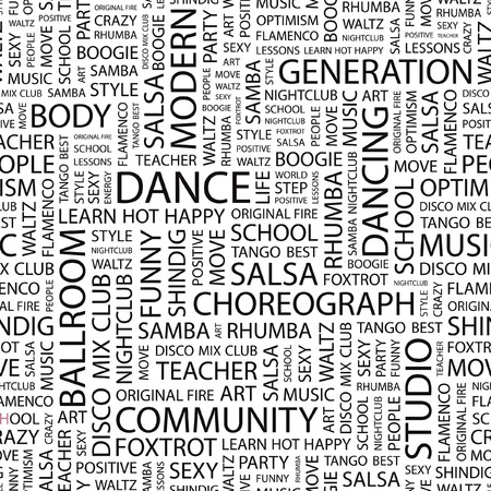 tango: DANCE. Seamless   pattern with word cloud.