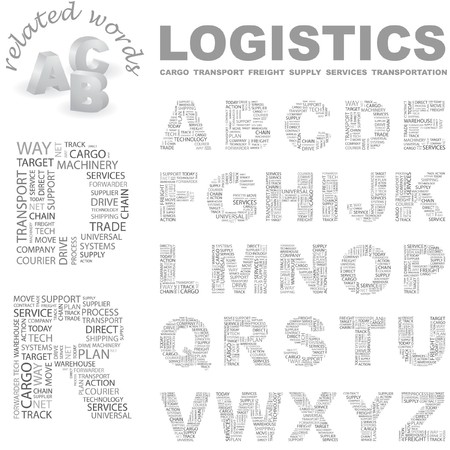 LOGISTICS.  letter collection. Word cloud illustration.   Vector