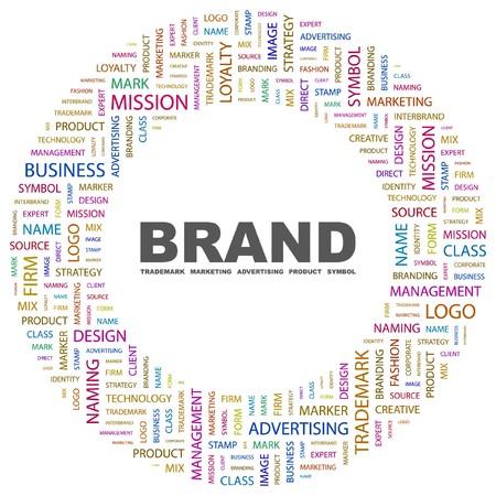 通信: ブランド。白い背景の上の単語のコラージュ。イラスト。  イラスト・ベクター素材
