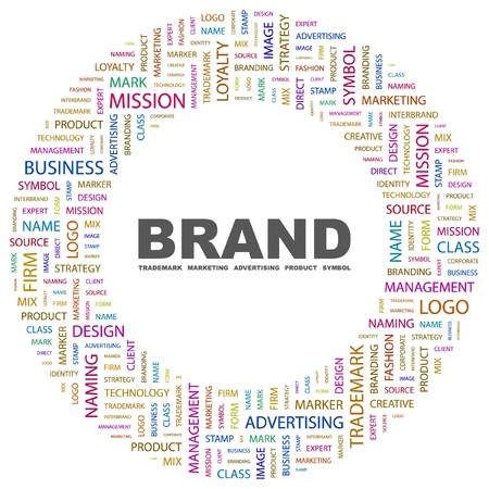 marketing mix: BRAND. Word collage on white background.  illustration.