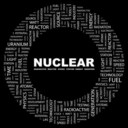 NUCLEAR. Word collage on black background. illustration. Stock Vector - 7339750