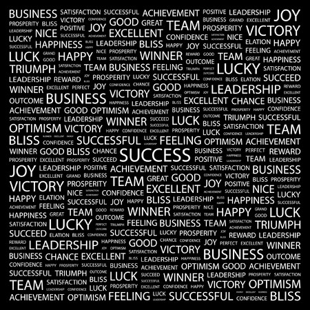 attainment: SUCCESS. Word collage on black background. illustration.