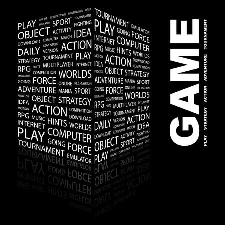 GAME. Word collage on black background.  illustration.    Vector
