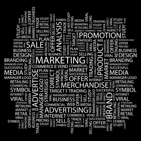 direct: MARKETING. Word collage on black background. illustration.    Illustration